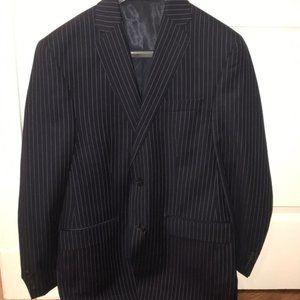 Calvin Klein Black Pinstripe Blazer Suit Jacket